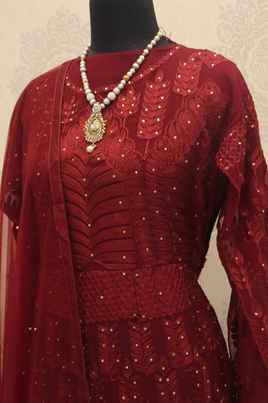 Sonakshi Sinha Red Long Anarkali Suit - YOYO Fashion
