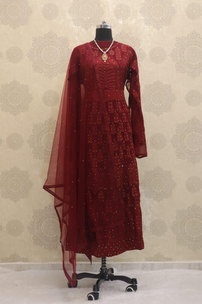 Sonakshi Sinha Red Embroidered Anarkali Suit - YOYO Fashion