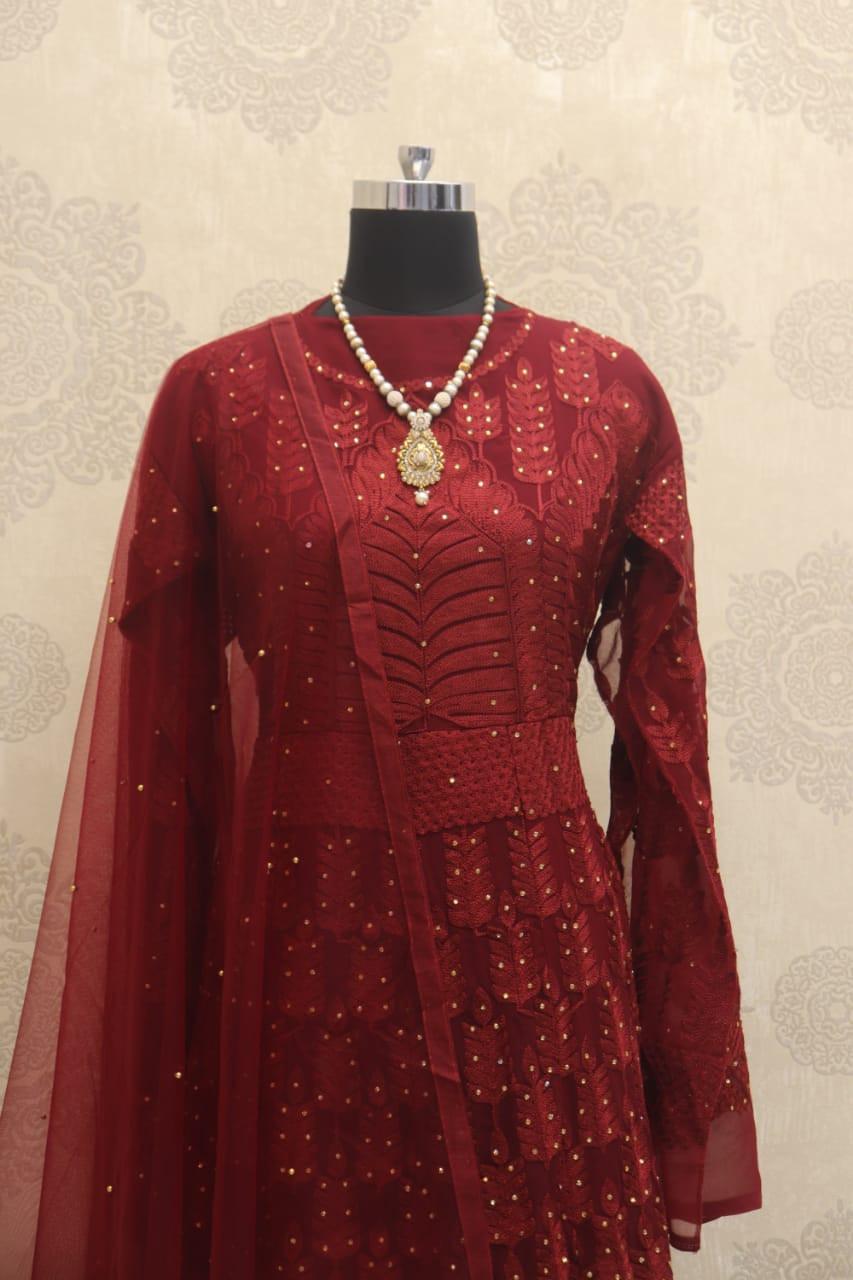Sonakshi Sinha Red Long Anarkali Salwar Suit - YOYO Fashion