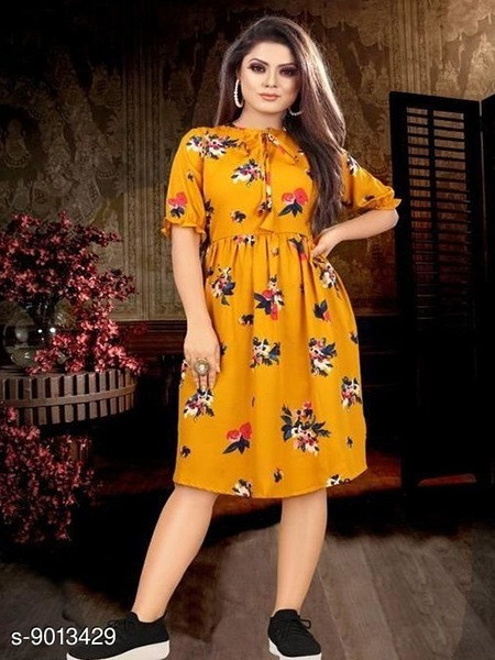 Buy Yellow Partywear Printed One Piece Dress Online from YOYO Fashion