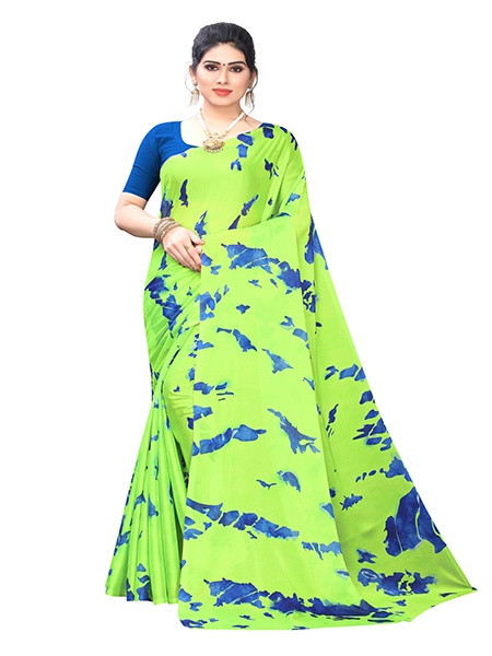 Buy Parrot Green and Blue Printed Silk Saree Online from YOYO Fashion