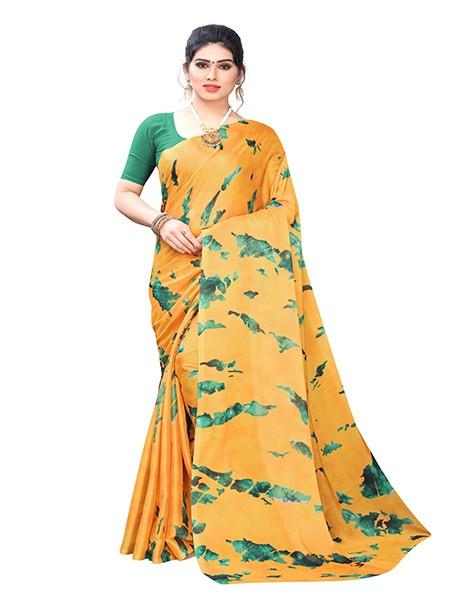 Yellow and Green Silk Printed Saree