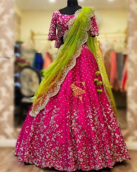 Buy Rani Pink Embroidered Engagement lehenga Choli Online from YOYO Fashion
