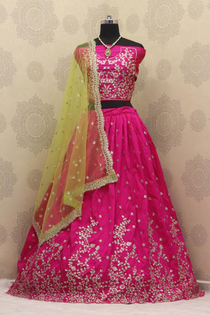 Rani Pink Embroidered Engagement Lehenga Choli - YOYO Fashion