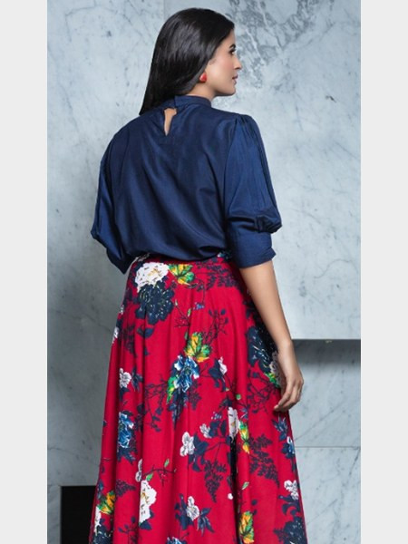 Blue and Red Printed Crop Top Lehenga