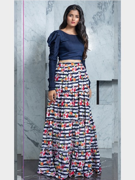 Designer Blue Crop Top with Printed Skirt