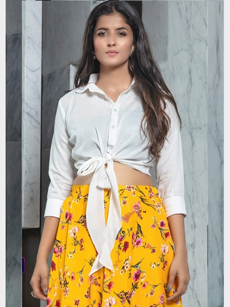 Designer White and Yellow Crop Top and Skirt