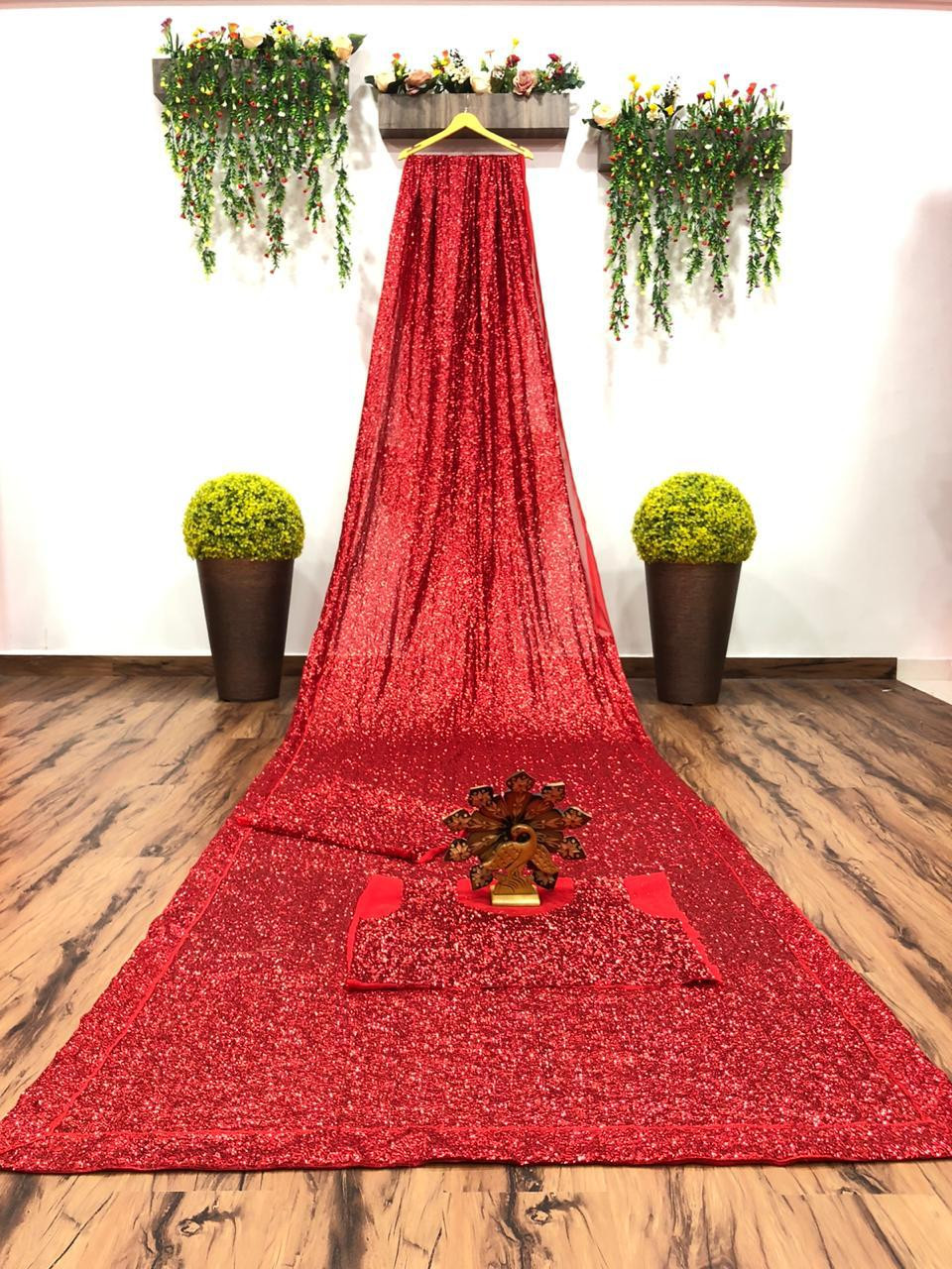Red Bridal Partywear Glitter Saree from YOYO Fashion