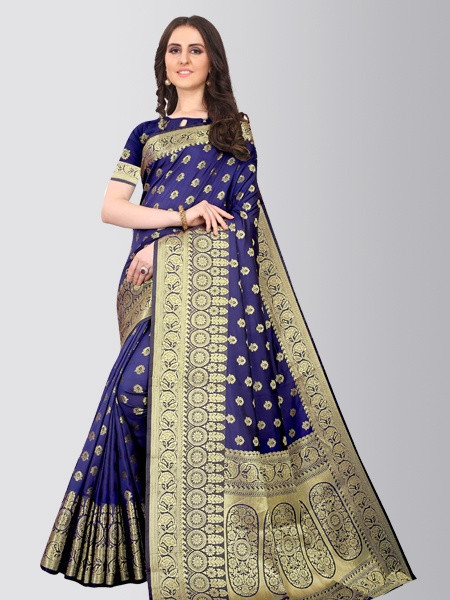 Buy Blue Banarasi Silk Saree With Heavy Pallu Online in India- YOYO Fashion