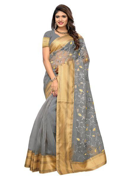 Buy Grey Organza Embroidered Saree with Zari Border Online from YOYO Fashion
