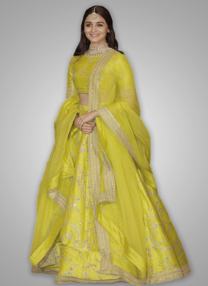 Alia Bhatt Sabyasachi Lime Green Bollywood Lehenga Choli