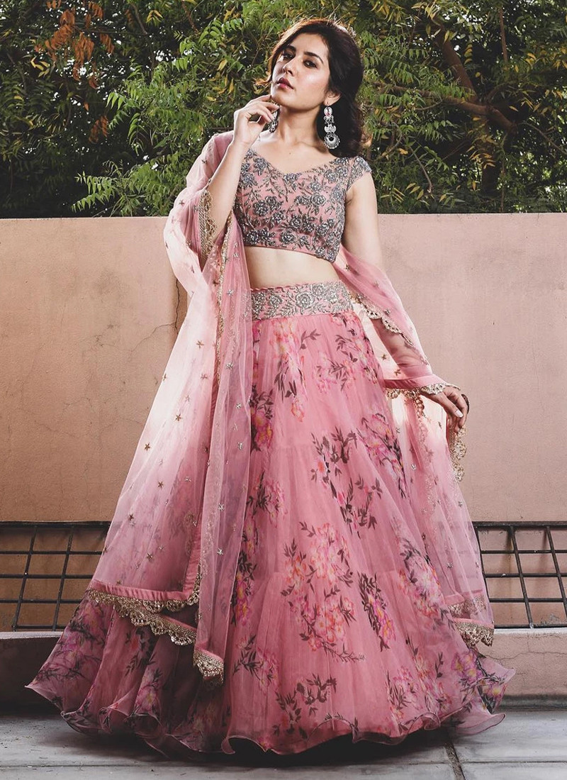Fancy Floral Printed Light Pink Net Lehenga Choli
