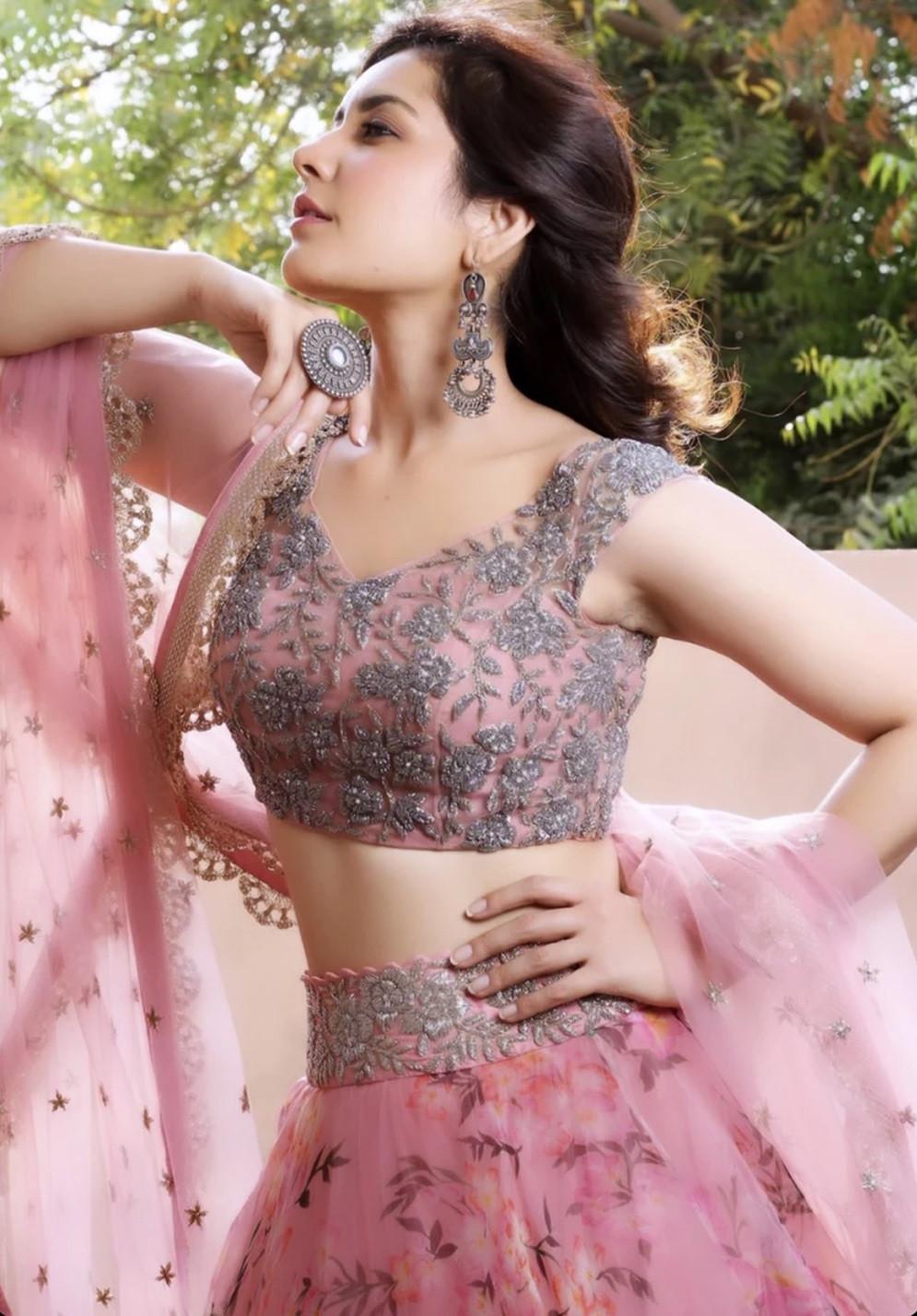 Rashi Khanna Floral Printed Pink Net Lehenga Choli - L8002 - YOYO Fashion