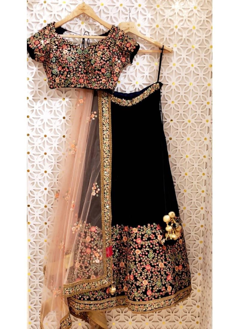 Designer Black Floral Embrodiered Silk Lehenga Choli