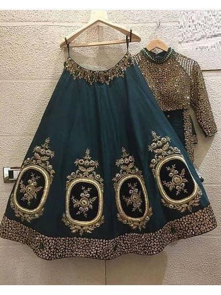Peacock Green Heavy banglory Silk Engagement Lehenga