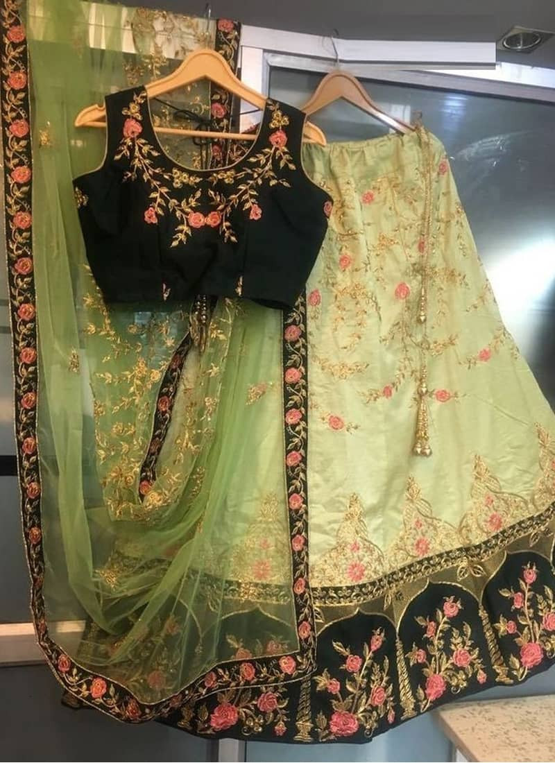 Designer Green Embroidered Engagement Wedding Lehenga