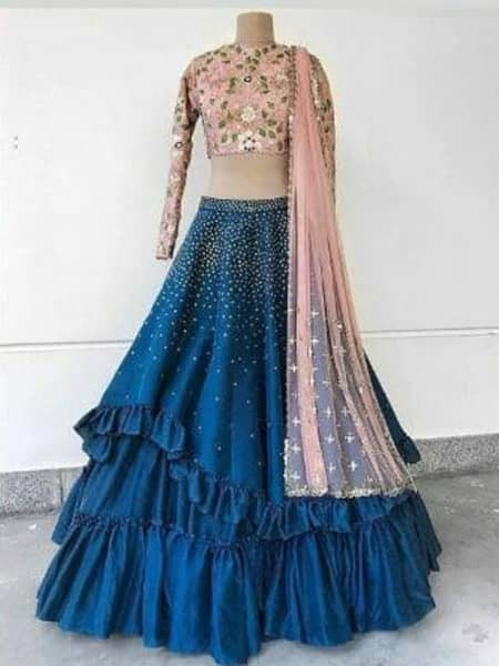 Designer Pink and Blue Silk Ruffle Lehenga Choli