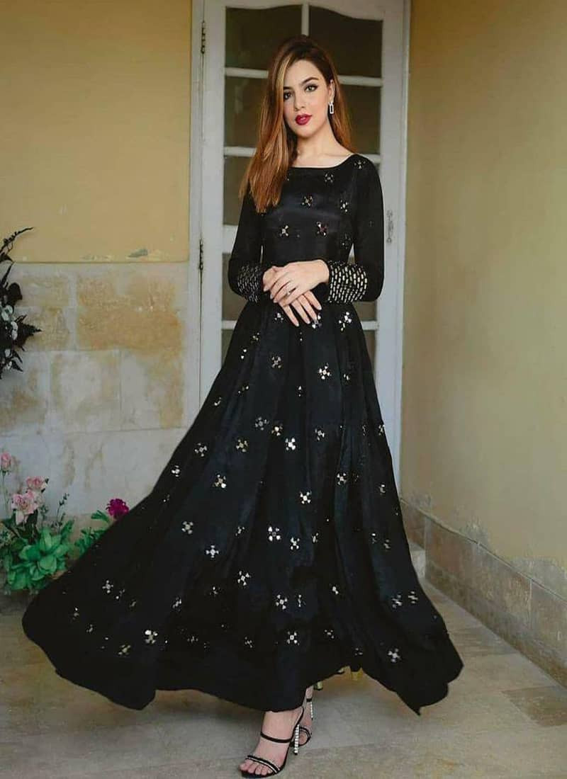 Designer Party Wear Mirror Work Black Tafeta Silk Gown