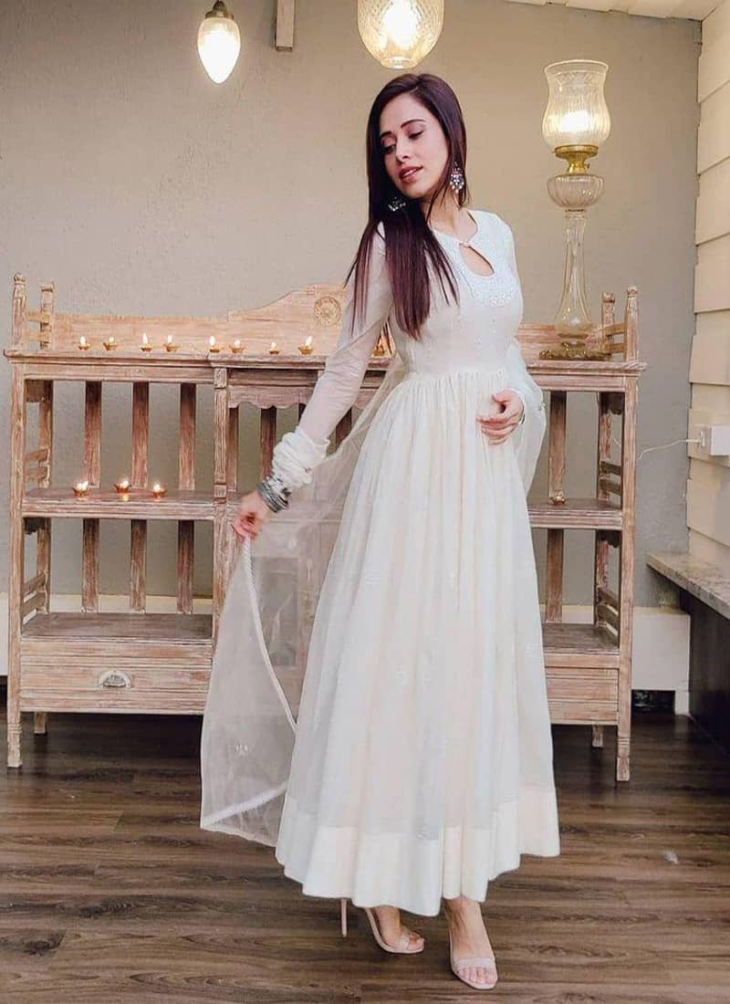 Nusrat Bharucha Style White Long Bollywood Anarkali Gown