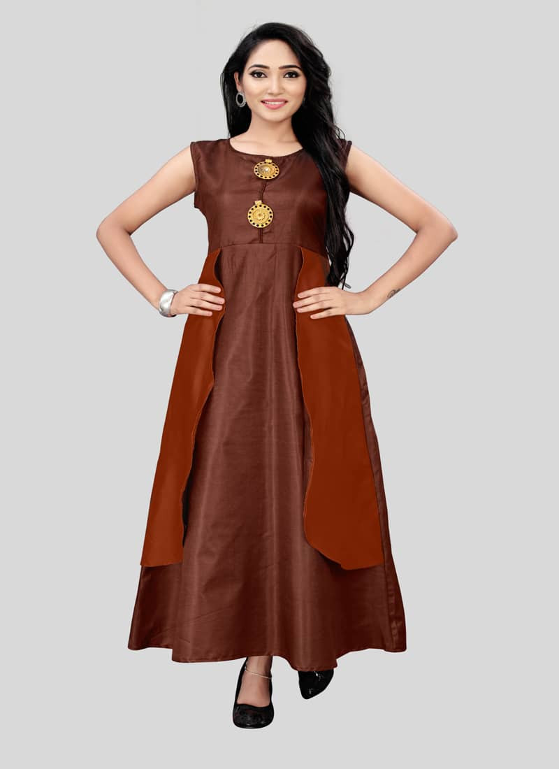 Brown Silk Desinger Long Anarkali Kurti