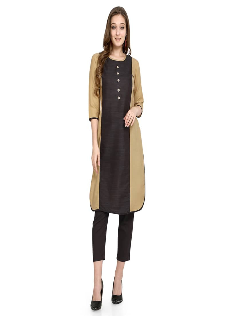Plain Black and Beige Shrot Cotton Kurti