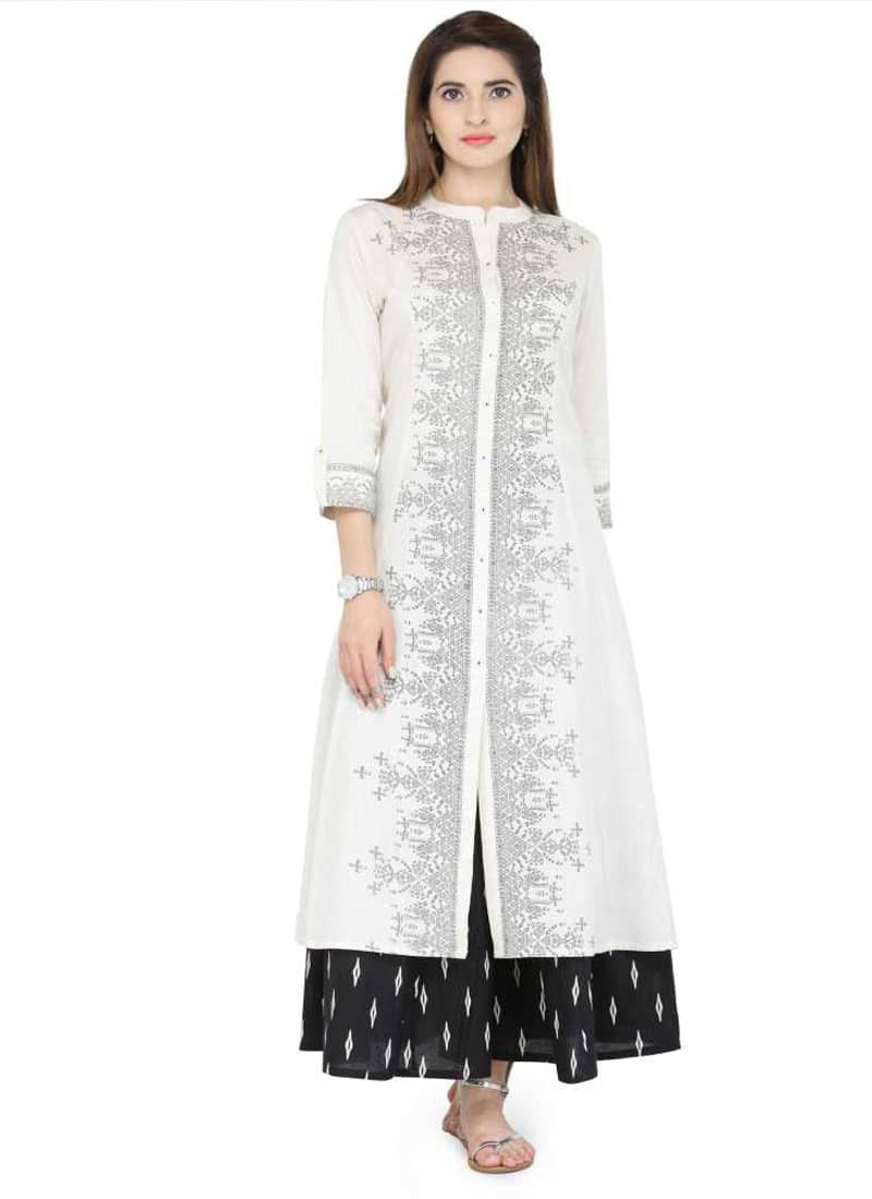 White Printed Long Straight Cotton Kurti