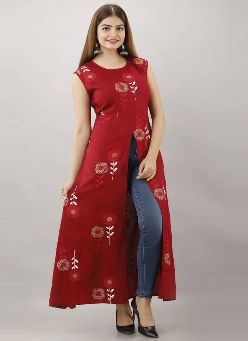 Stylish Red Floral Printed Cotton Front Slit Kurti