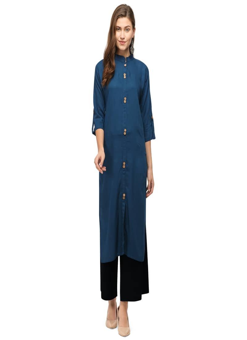 Plain Navy Blue Straight Long Cotton Kurti