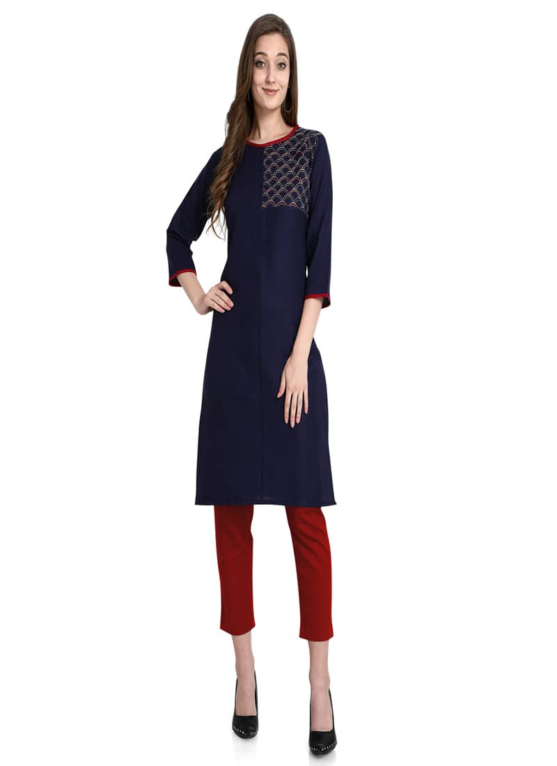 Plain Blue Designer Short Cotton Kurti