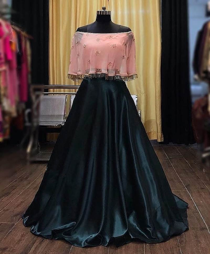 Black Silk Ladies Designer Crop Top Lehenga For Wedding