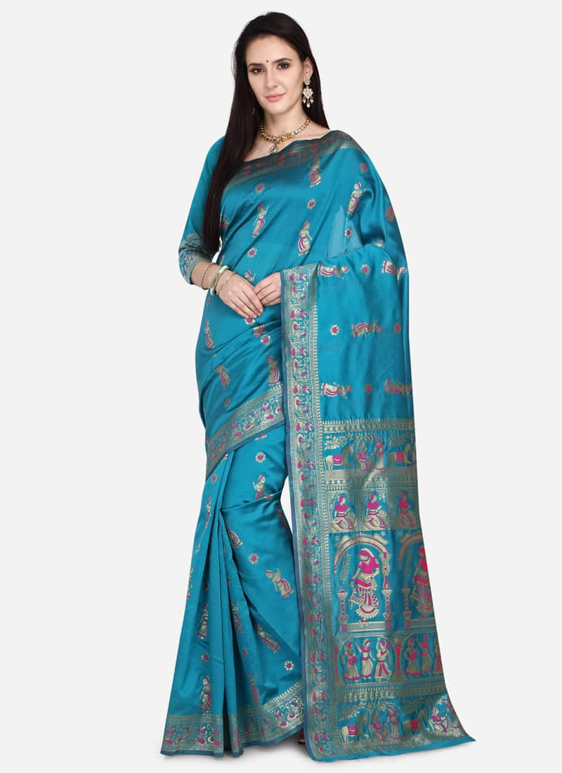 Party Wear Turquoise Kalamkari Jacquard Silk Saree