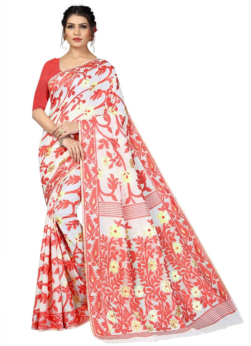 Red and White Pure Chanderi Cotton Saree