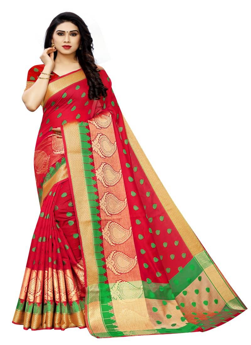 Designer Red Banarasi Cotton Saree