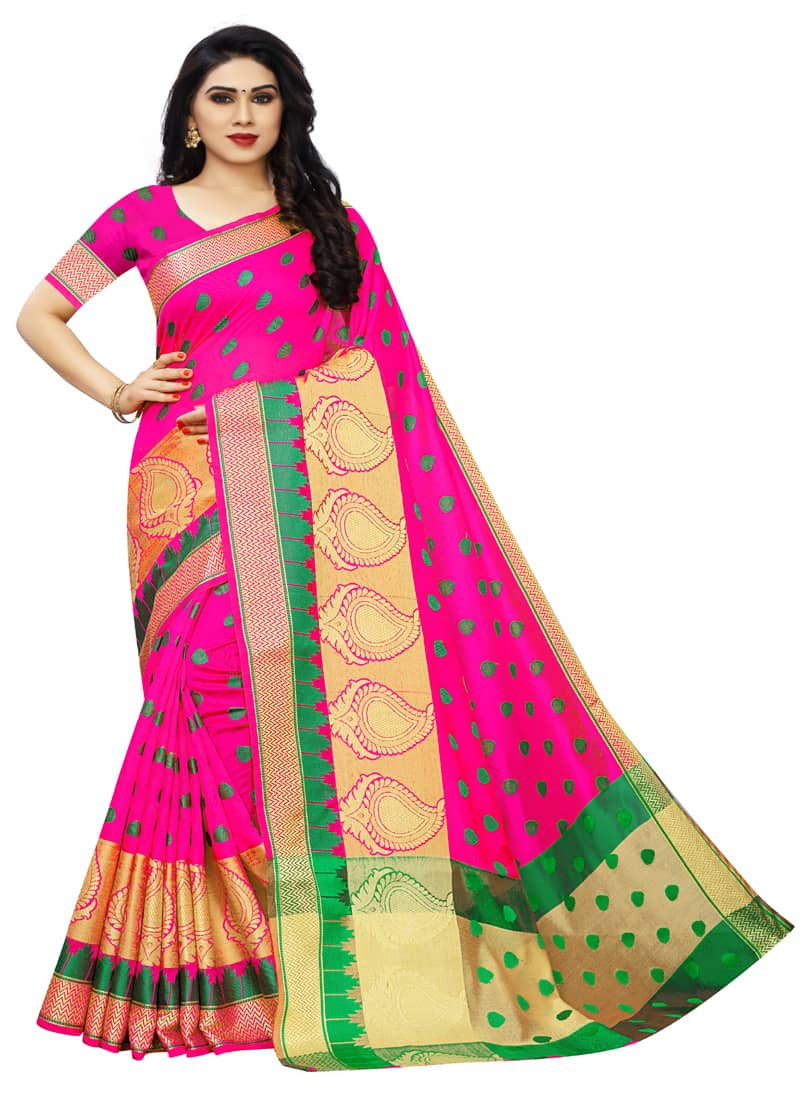 Rani Pink Banarasi Chanderi Cotton Saree