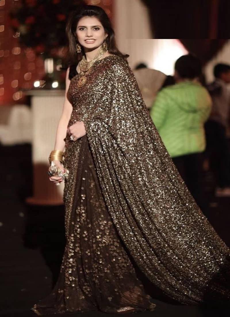 Designer Brown Partywear Sequins Saree