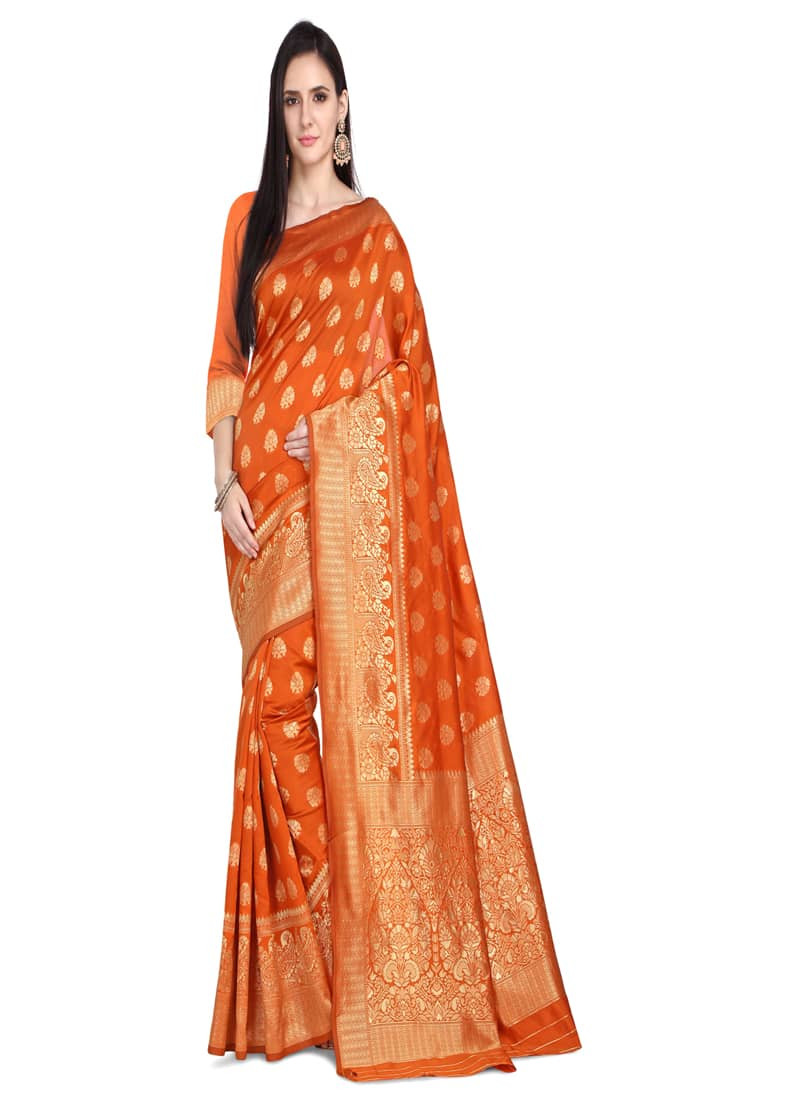Designer Orange Jacquard Woven Wedding Saree