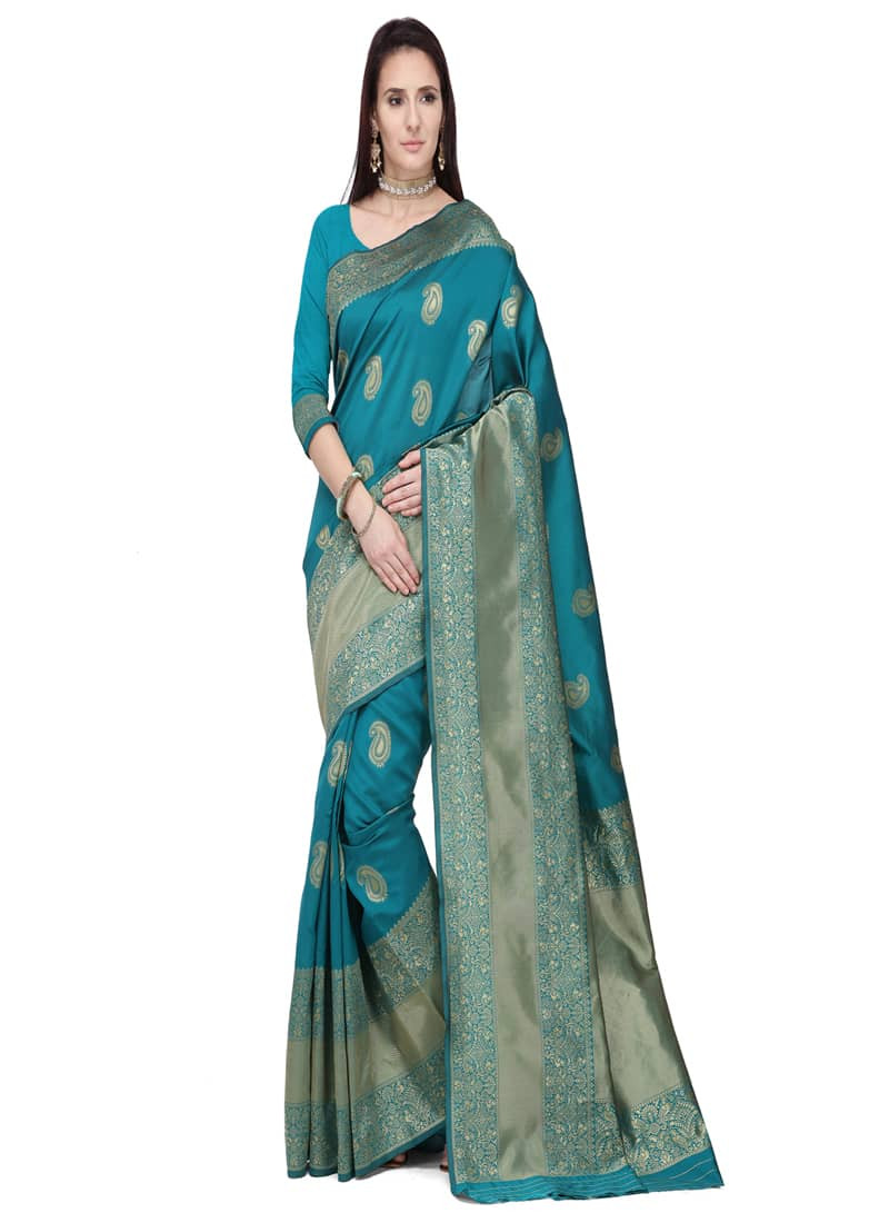 Designer Turquoise Pure Art Silk Saree