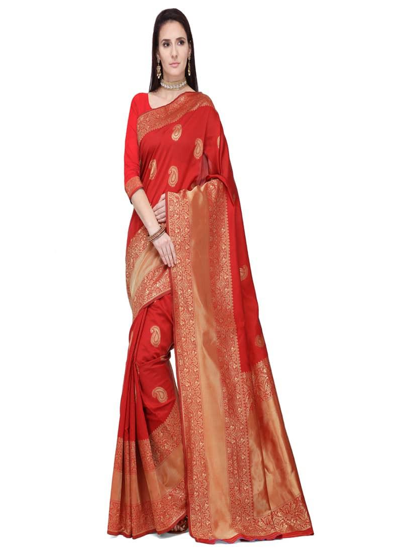 Designer Red Bridal Banarasi Silk Saree
