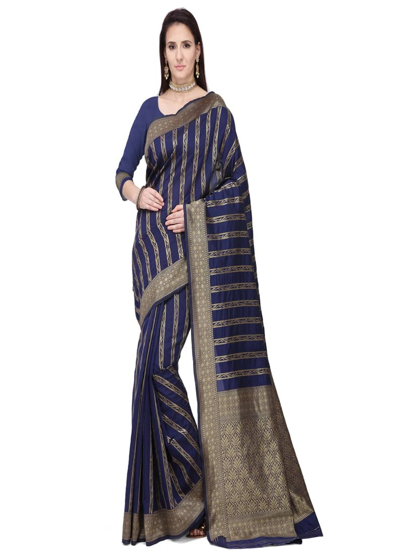 Party Wear Navy Blue Designer Striped Silk Saree