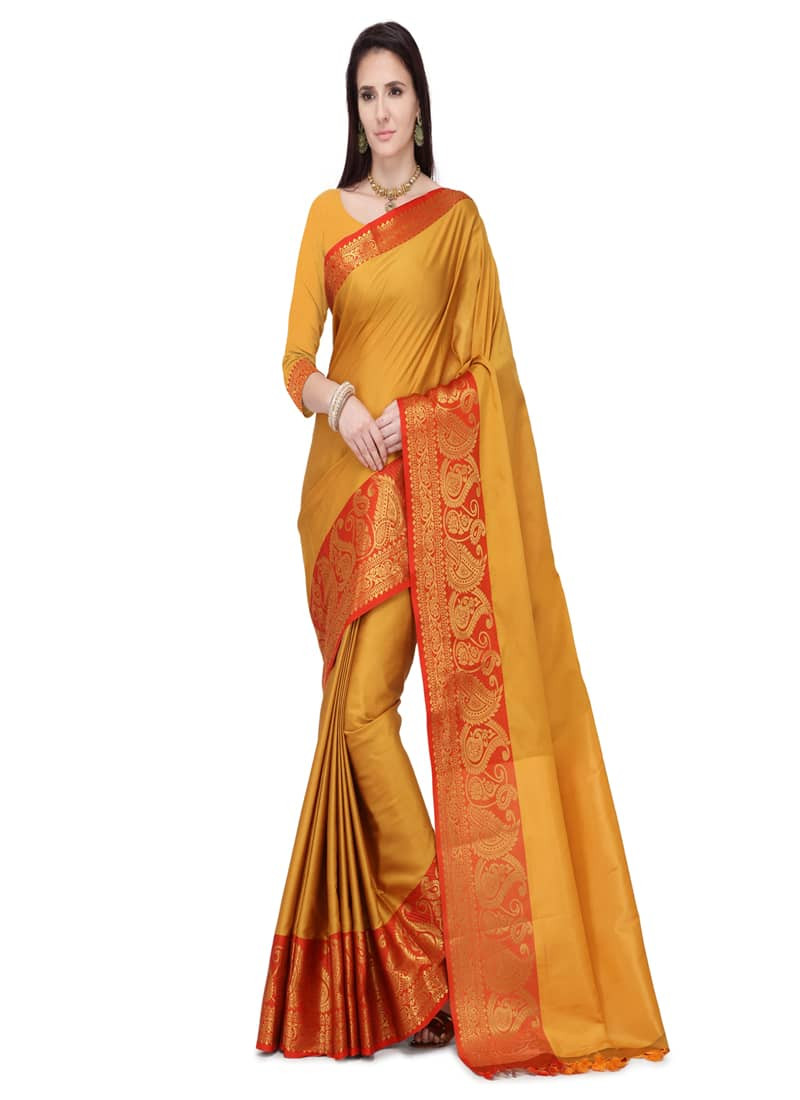Traditional Yellow Jacquard Silk Border Saree