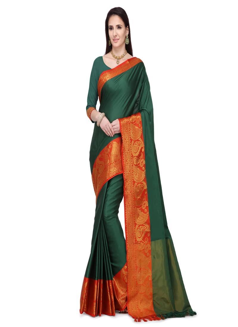 Plain Dark Green and Orange Jacquard Silk Saree