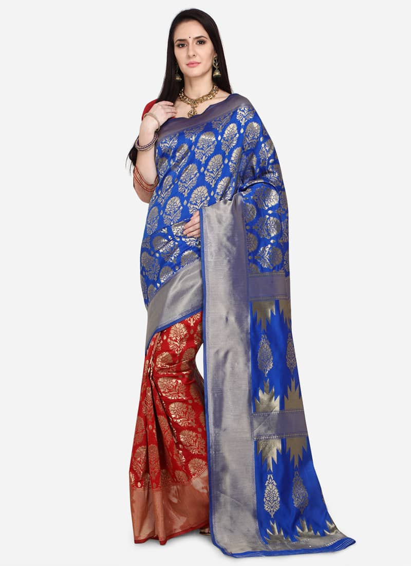 Trendy Blue and Red Half Silk Saree for Wedding