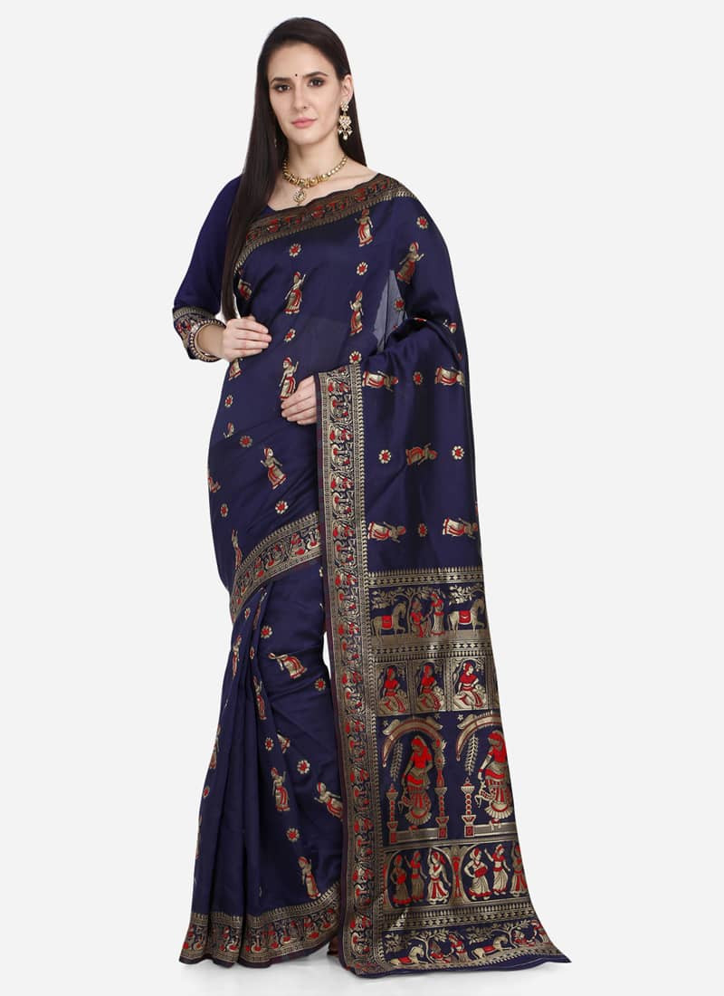 Designer Navy Blue Kalamkari Silk Saree