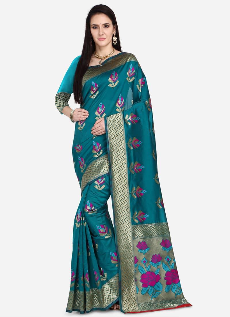 Designer Turquoise Floral Woven Wedding Saree