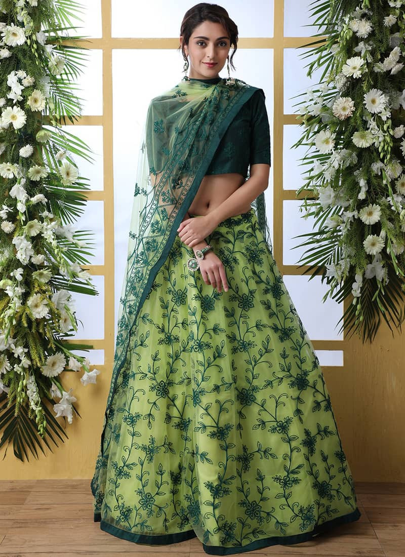 Designer Green Net Floral Embroidered Lehenga Choli