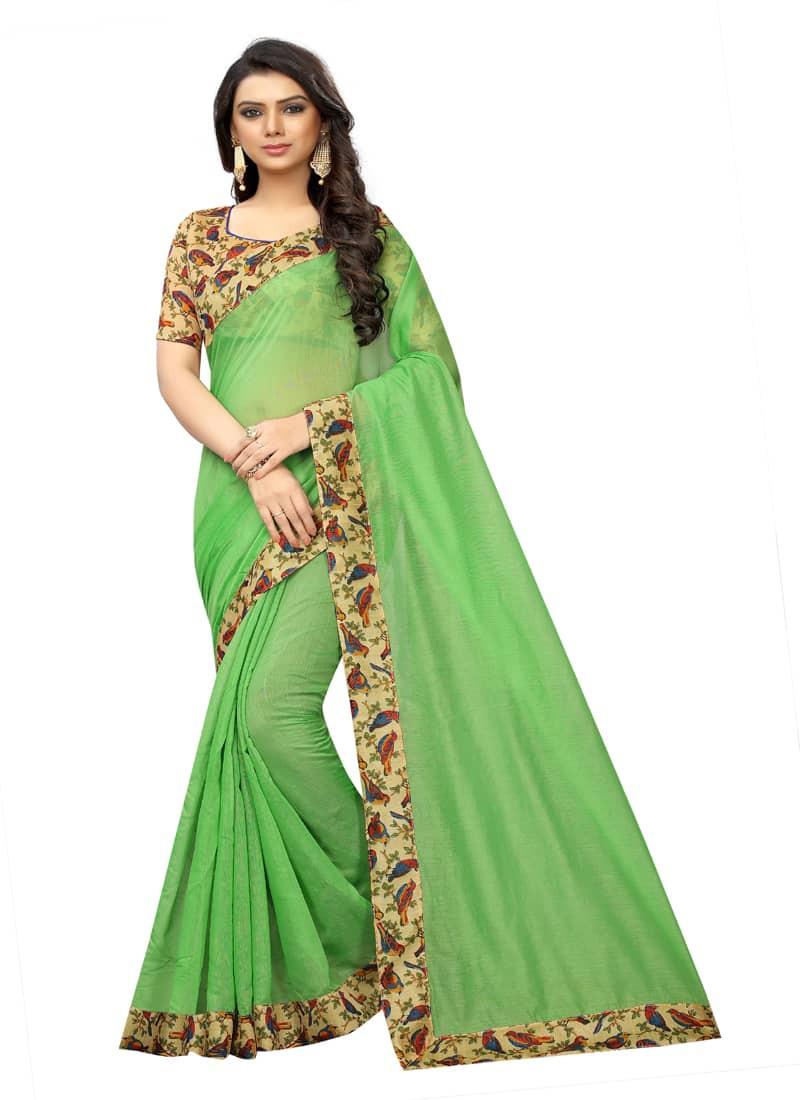 Simple Light Green Printed Border Chanderi Saree