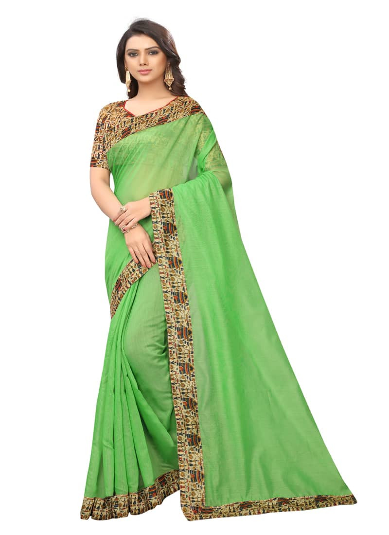 Light Green Chanderi Silk Saree with Printed Border