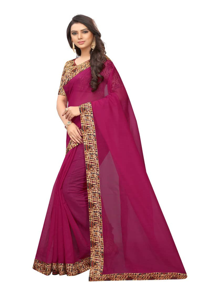 Rani Pink Printed Border Chanderi Silk Saree