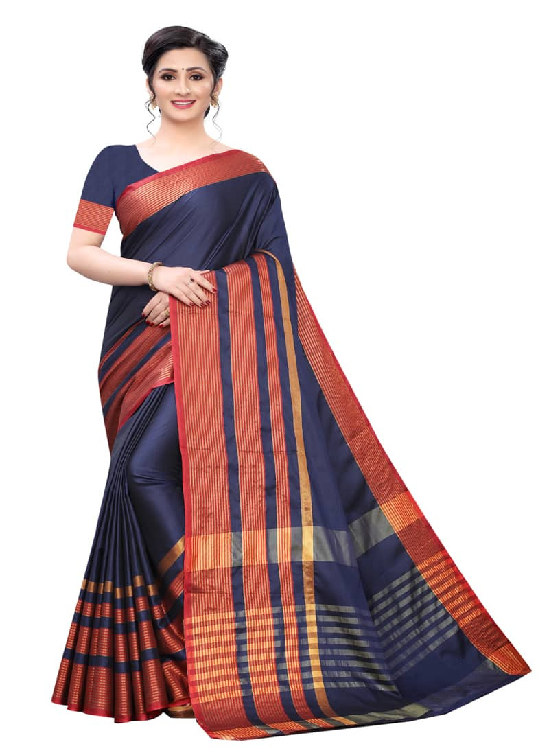 Navy Blue and Red Designer Silk Cotton Saree