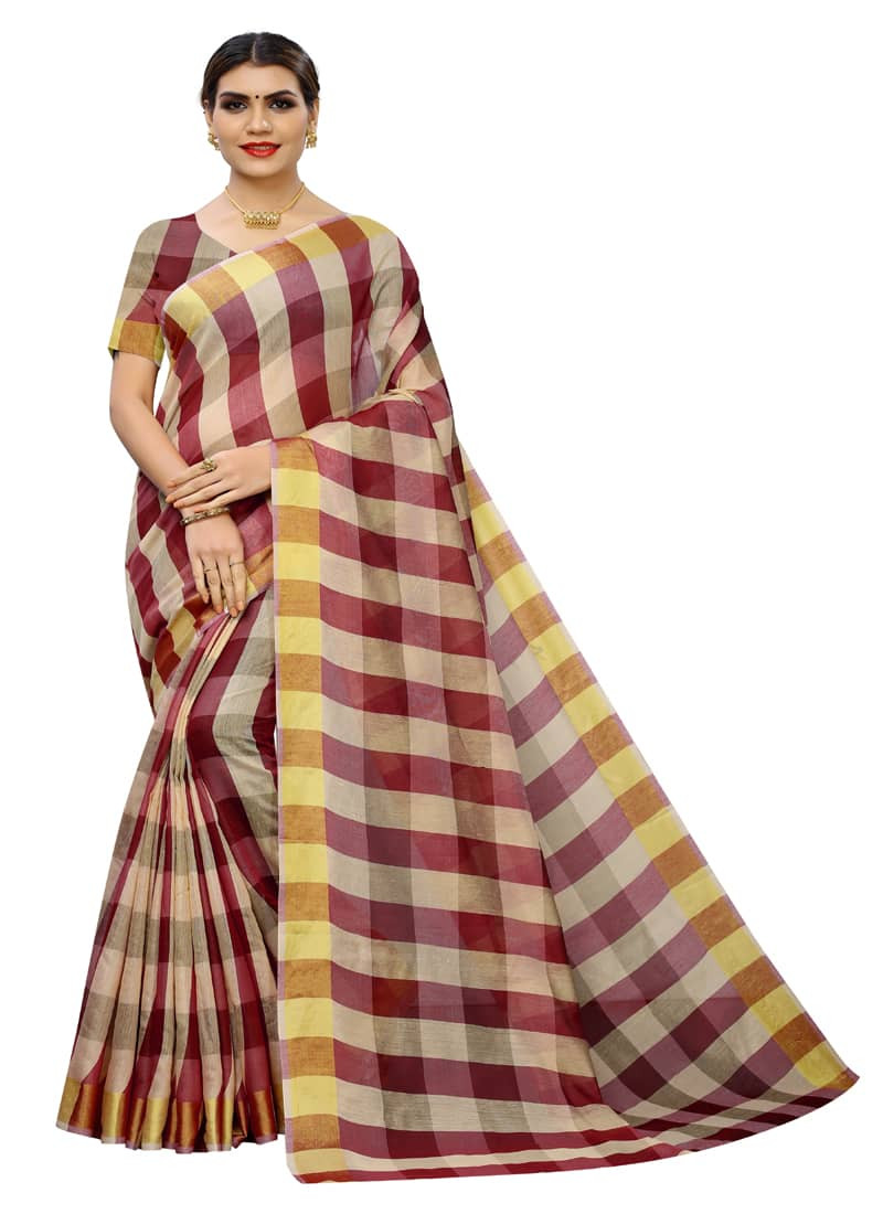 Maroon Soft Cotton Silk Checks Printed Saree